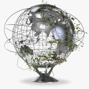 3D model earth globe ivy