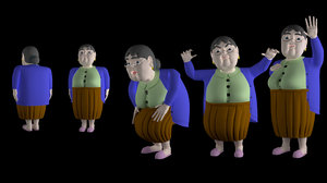 character grandmother lady 3D model