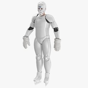 3D hummanoid hockey player white