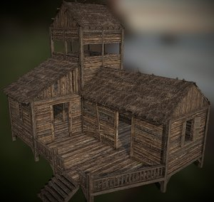 3D model realistic wooden shack old house