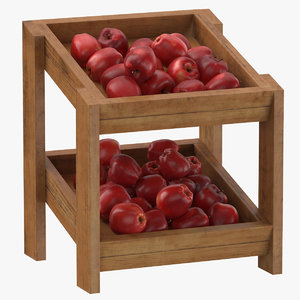 wooden merchandise shelf 02 3D