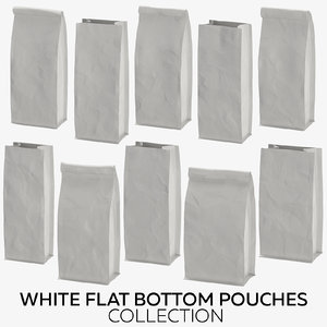 white flat pouches 3D