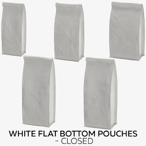3D model white flat pouches -
