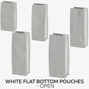 white flat pouches - 3D