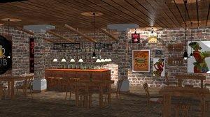 pub bar 3D model