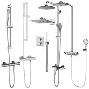 shower systems grohe set 3D