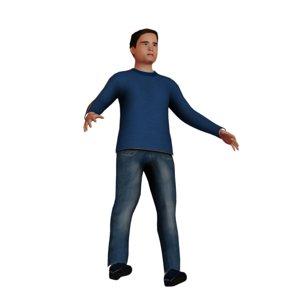 3D white teenage boy model