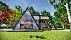 modern frame house home 3D