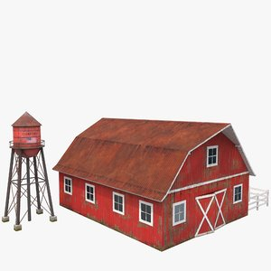 3D red barn