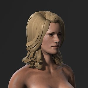 3D character rigged naked model