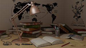 study table lamp books 3D