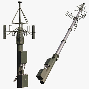 3D telescopic antenna mast rigged model