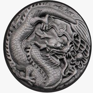 3D ornamental dragon stone model