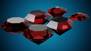 3D model 6 gems diamond