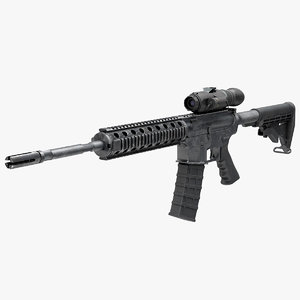 3D model assault rifle thermal weapon