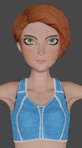 3D sportswoman cartoon ready games