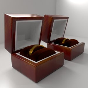 couple gold ring wood box 3D