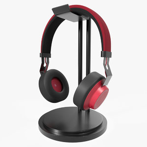 3D bluetooth wireless headphones red model