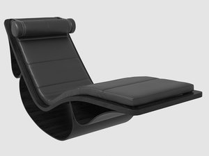 3D chaise longue rio black leather model