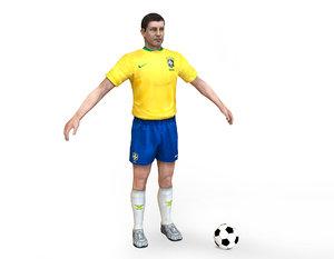 3D brasil soccer player rigged character model