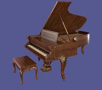 Vintage Antique Elegant Victorian Louis XV Parlor Grand Piano