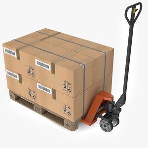 3D model hand pallet truck boxes