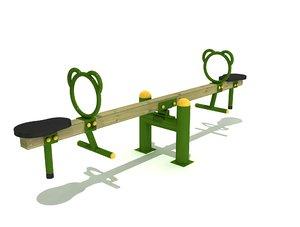 3D model wood seesaw