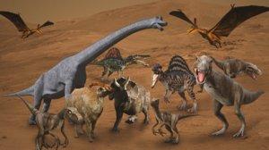 3D model triceratops brachiosaurus