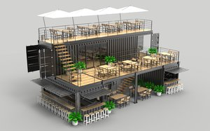 3D model shipping container cafe restaurant