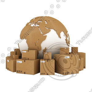 3D cardboard boxes world