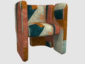 3D fairfax chair apricot kelly model