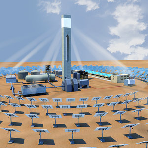 solar power tower heliostat 3D