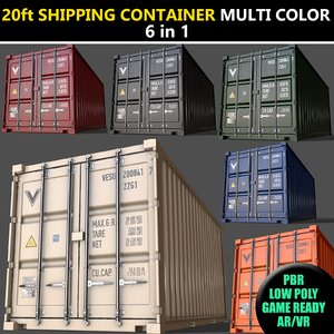 3D color cargo container -