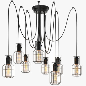 3D real industrial chandelier bulb light