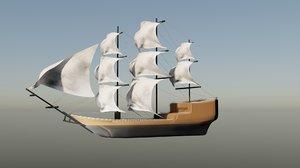 3D boat ship