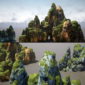 pack mountains rocks games model