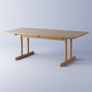 oak table desks 3D model
