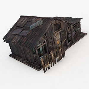 old wooden house buildings 3D model