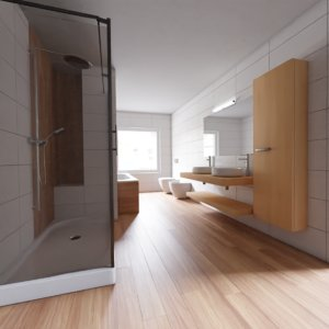 3D clear bathroom interior scene model