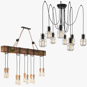 real industrial chandelier 3D model