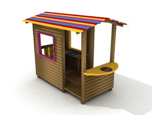 3D wood house model