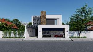 3D modern house building