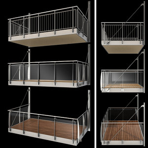 3D metal balcony 3 types model