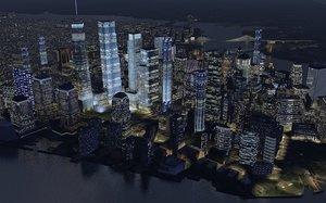 3D night manhattan