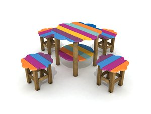 3D colorful wood table play