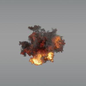 3D aerial explosion 03 vdb model