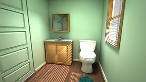 3D bathroom shower room leon model
