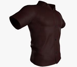 3D red summer shirt model