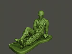 american soldier ww2 wounded 3D model