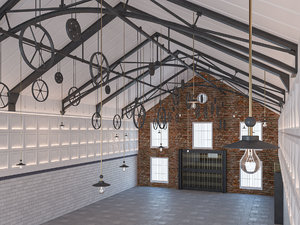 warehouse modern interior 3D model